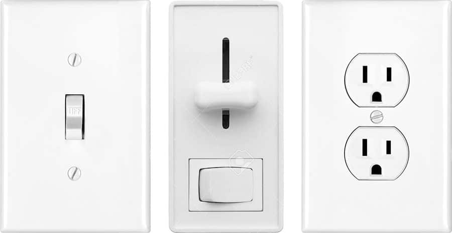 Different types of outlets and light switches in a row.